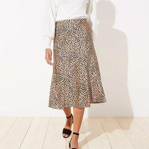 Leopard Print Pull On Midi Skirt